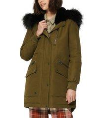 marc new york carina faux-fur-trim hooded parka coat
