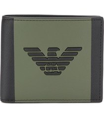emporio armani logo embroidered colour block wallet - black
