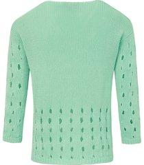 trui met 3/4-mouwen en v-hals van peter hahn groen