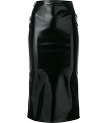mcq swallow coated straight skirt - black
