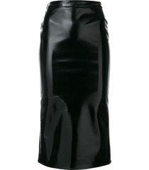 mcq alexander mcqueen coated straight skirt - black