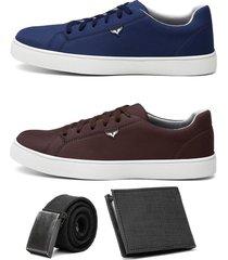 dois sapatãªnis jogger masculino urbano confort com carteira e cinto - azul/branco/cinza/marrom - masculino - camurã§a - dafiti