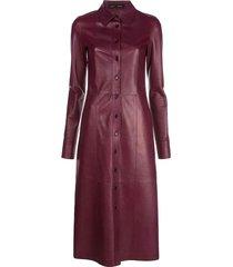 lightweight leather bordeaux shirt dress