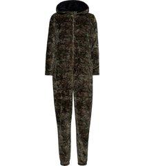 decoy piece w/hood, zipper pyjamas grön decoy