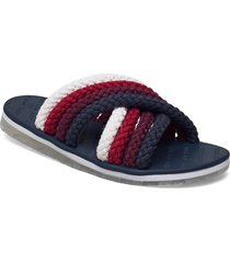 cross strap mule sandal shoes summer shoes flat sandals blå tommy hilfiger