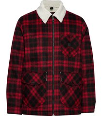 wool loco sherpa wollen jack jack rood lee jeans