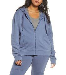 plus size women's zella rudi moto front zip hoodie
