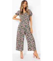 bloemen culotte jumpsuit met pofmouwen, black