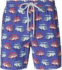 capricode bus print swim shorts - blue