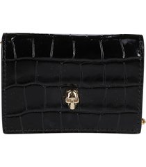 black leather wallet on chain
