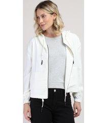 jaqueta corta vento feminina com capuz e bolsos off white