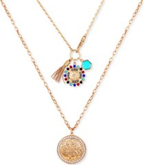 """guess gold-tone multicolor crystal, stone, chain tassel & charm layered pendant necklace, 22"""" + 2"""" extender"""