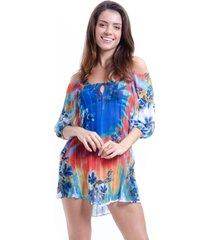 vestido saãda de praia 101 resort wear estampada ombro a ombro tie dye. - azul/branco/multicolorido/vermelho - feminino - dafiti