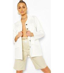 utility pocket tie waist woven jacket, ecru