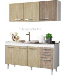 armário aéreo parma e balcão gabinete pia inox lisboa 150cm branco/carvalho/castanho - lumil móveis