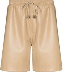 nanushka doxxi vegan leather drawstring shorts - neutrals