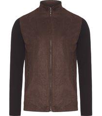 jaqueta masculina suede com tricot - marrom