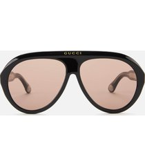 gucci men's aviator style sunglasses - black/brown