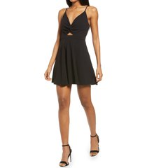 women's lulus all about that love twist front skater dress, size small - black