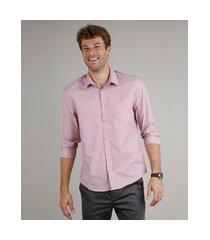 camisa masculina comfort fit com bolso manga longa rosa