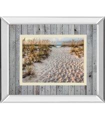 "classy art path to the beach by michael cahill mirror framed print wall art - 34"" x 40"""