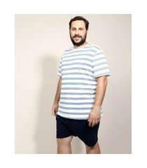 pijama masculino plus size com listras manga curta off white