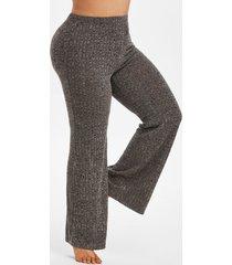 plus size heathered knitted pajamas pants