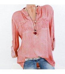 zanzea la manera tapas del cordón del remiendo botones de la camisa de manga larga de las mujeres blusa ocasional rosa -azul