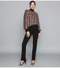 reiss maisie - patchwork printed turtle neck top in red, womens, size 12