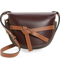 loewe gate small leather crossbody bag - burgundy