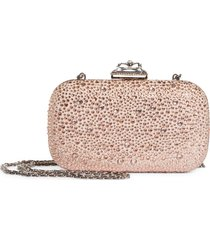 alexander mcqueen spider crystal embellished leather clutch - pink