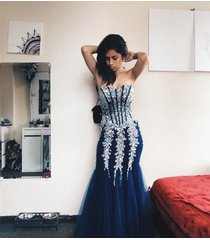 mermaid beaded dark royal blue prom dresses,sweetheart evening dresses