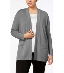 anne klein plus size open-front cardigan