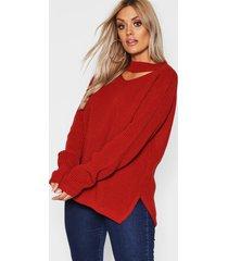 plus choker side split sweater, rust
