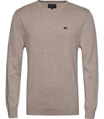 bradley crew neck sweater gebreide trui met ronde kraag beige lexington clothing