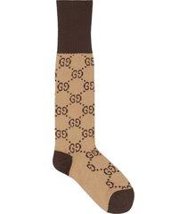 gucci gg pattern cotton blend socks - neutrals