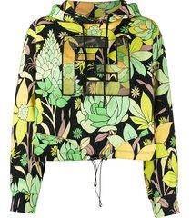 fendi ff motif floral print hoodie - green
