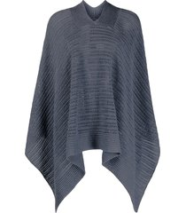 agnona open knit poncho - blue