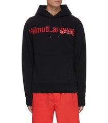 slogan print cotton hoodie