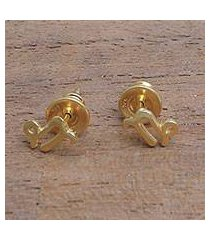 gold plated sterling silver stud earrings, 'golden capricorn' (indonesia)