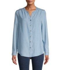 beach lunch lounge women's smocked button-front top - medium wash - size xs