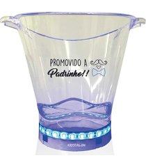 balde de gelo com led personalizado para padrinho - incolor - dafiti