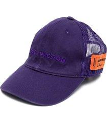 heron preston logo-embroidered panelled cap - purple