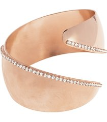 bracciale bangle medium in bronzo lucido/satinato rosato e cristalli per donna