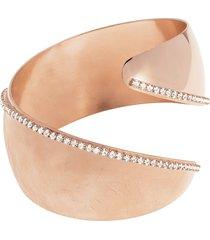 bracciale bangle medium in bronzo lucido/satinato rosato e cristalli per donna