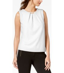 calvin klein embellished pleated sleeveless top
