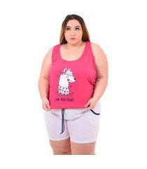 short doll bella fiore modas pijama feminino plus size rosa