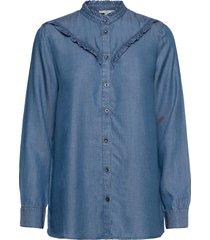 blouses denim blus långärmad blå edc by esprit