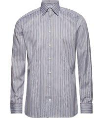blue & brown fine striped twill shirt overhemd business multi/patroon eton