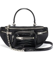 'mini fanny pack' croc-embossed patent leather handle bag